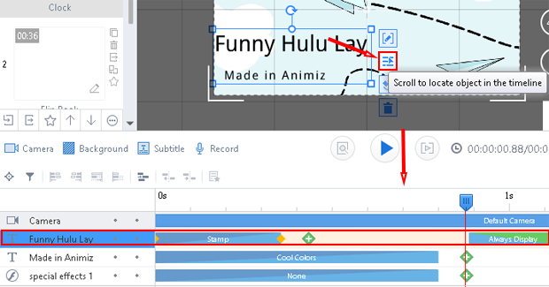 how to locate selected object in timeline